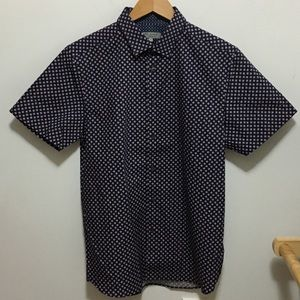 NWOT Ted Baker Sz 3 Navy Button Down Short Sleeve